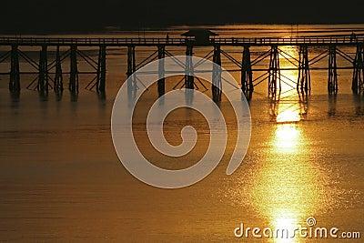 Landscape view of silhouette bridge across river