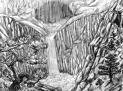 Landscape with waterfall and cave