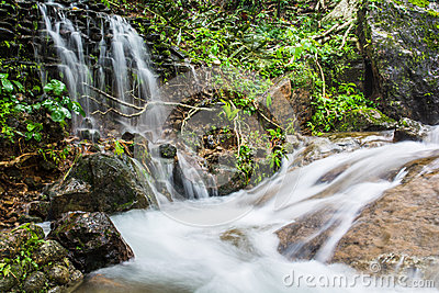 The landscape waterfall in the Southern of Thailand