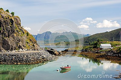 Norway, Fjord Landscape of West coast island Senja Editorial Image