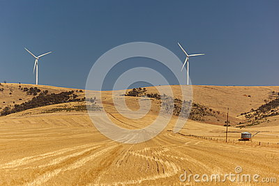 Landscape with wind generators distorted by hot air. South Australia.