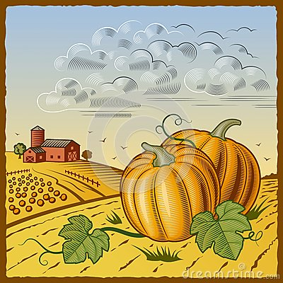 Free Landscape With Pumpkins Royalty Free Stock Image - 27139946
