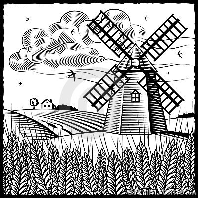 Free Landscape With Windmill Black And White Royalty Free Stock Photography - 11524277