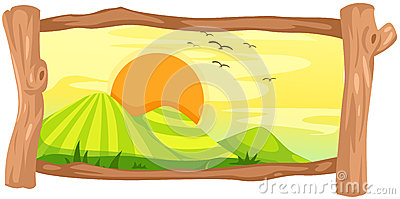 Landscape in wooden frame