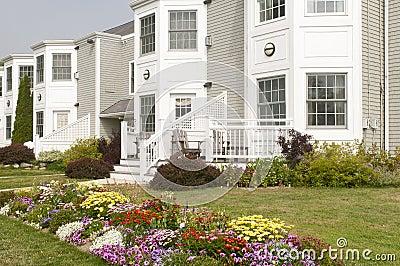 Landscaped apartment flowerbeds