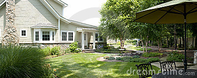 Landscaped backyard patio