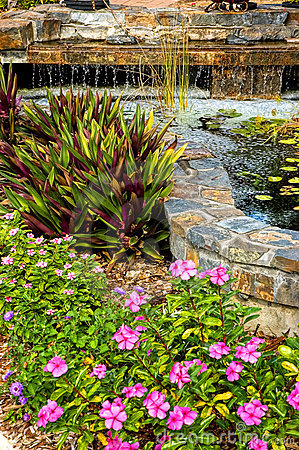 Free Landscaped Garden With Waterfall Royalty Free Stock Photos - 2033708