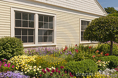 Landscaped house flowerbeds