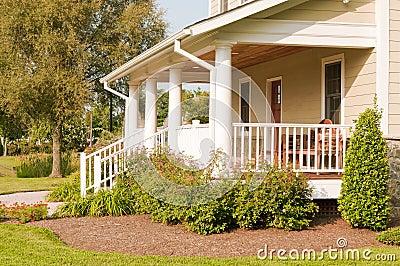 Landscaped house porch