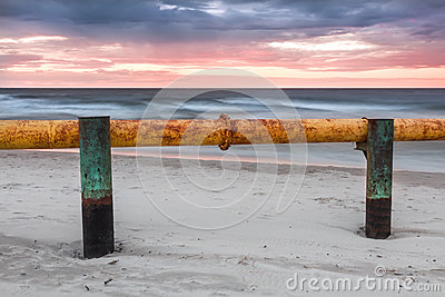 Landscapes of Poland. Sunset at Baltic sea.
