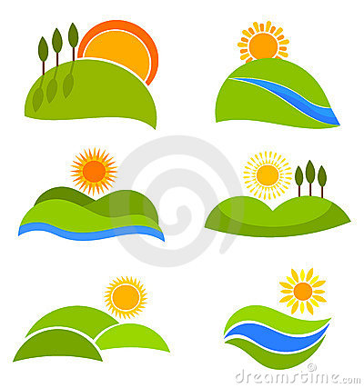 Landscapes vector icons