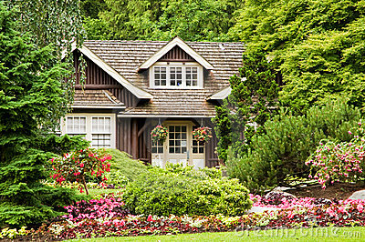 Landscaping log cabin