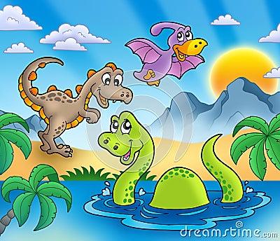 Landschaft mit Dinosaurieren 1