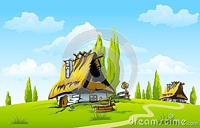 Landschap met oud huis in het dorp