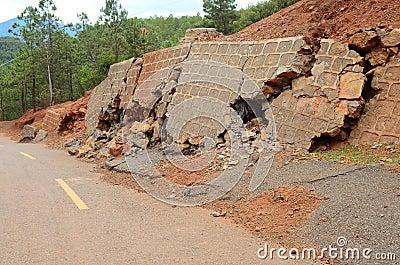 Landslide and broken road