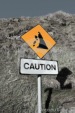 Landslide caution and warning road sign