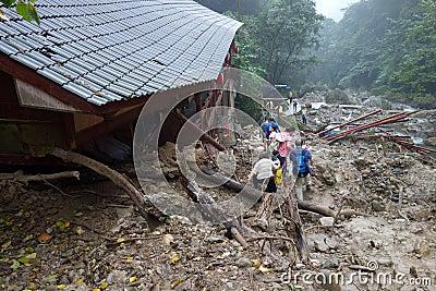Landslide destroy Editorial Image