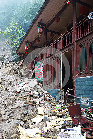 Landslide destroy Editorial Image