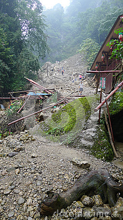 Landslide destroy Editorial Stock Photo