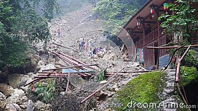 Landslide destroy Editorial Stock Image