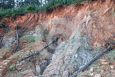 Landslide on mountain