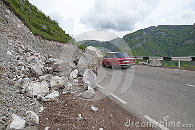 A landslide on a mountain road in Armenia