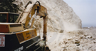Landslide on pan american highway peru Editorial Stock Photo
