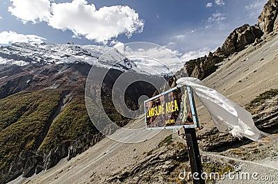 Landslide Sign At Annapurna Circuit