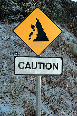 Free Landslide Sign In Snow Royalty Free Stock Photo - 21143745