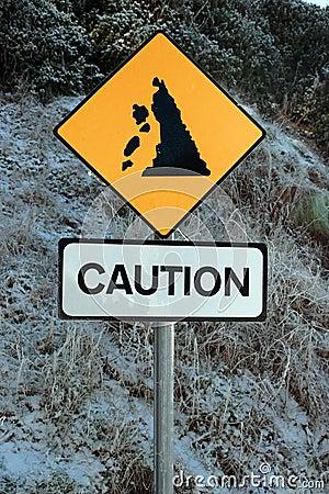 Landslide sign in snow