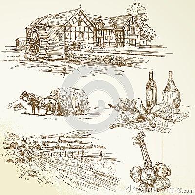 Landwirtschaftliche Landschaft, Landwirtschaft, altes watermill