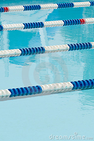 Lane separators in outdoor swimming pool