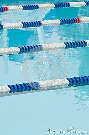 Lane separators in outdoor swimming pool