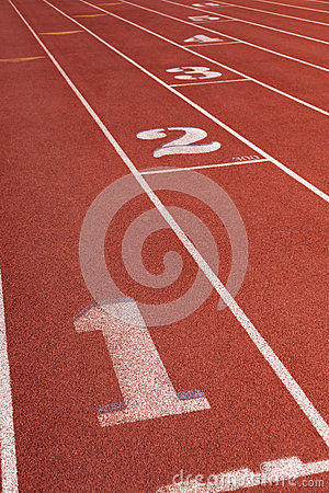 Lanes on a athletic running track with the number