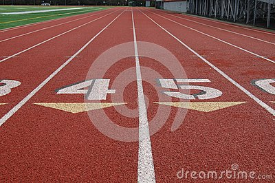 Lanes on athletic track