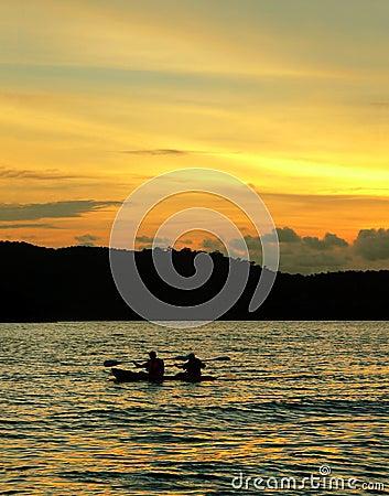 Free Langkawi Beach. Kayak / Canoe At Sunset Stock Photo - 1974280