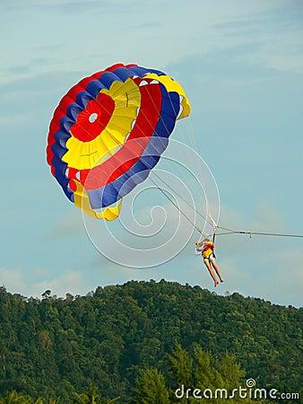 Langkawi Malaysia. Parasailer about to Land