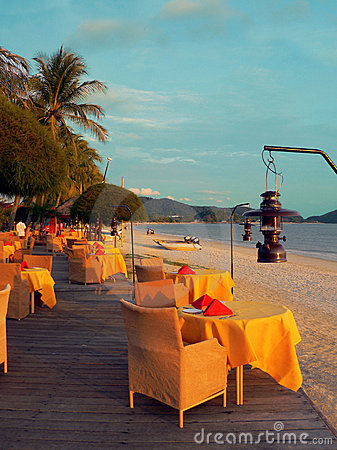 Langkawi. Openair Beach Restaurant Sea View