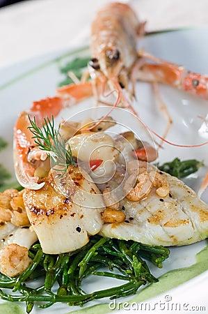 Langoustine and scallops