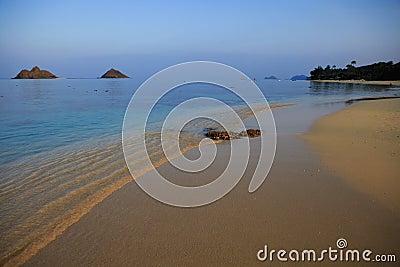Lanikai beach in hawaii at dusk