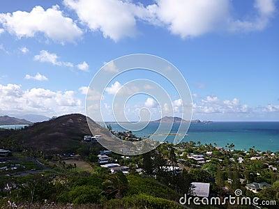 Lanikai and Kailua Bay from top mountain on O ahu, Hawai i