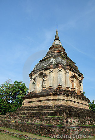 Lanna ancient pagoda in thai temple