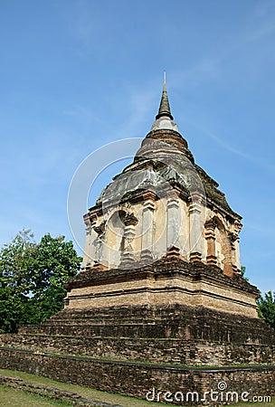 Lanna ancient pagoda in thai temple