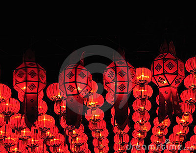 Lanna lanterns in the nighttime