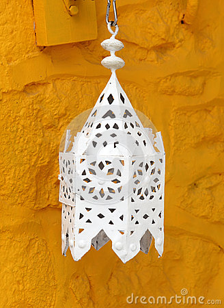 Lantern against ochre