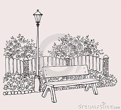 Lantern by the bench