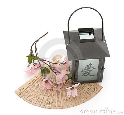 Lantern,Cherry Blossom, and Fan Isolated