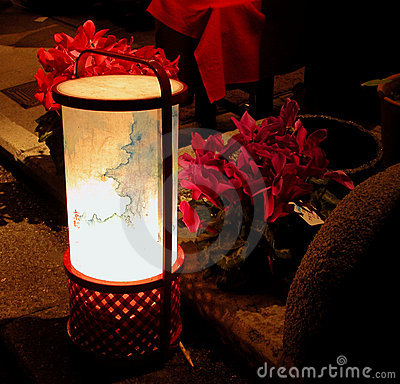 Lantern and flowers in the nig