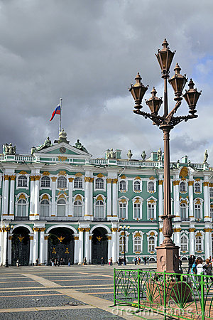 Lantern in front of Winter Palace in St.Petersburg Editorial Stock Image