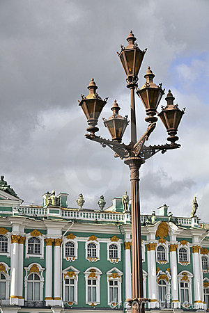 Lantern in front of Winter Palace in St.Petersburg